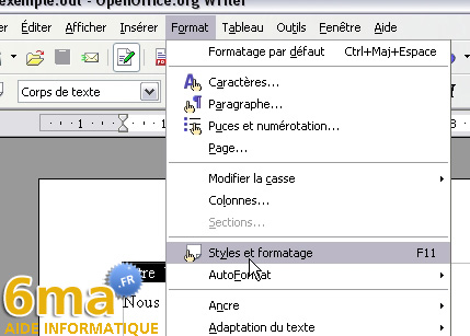 Openoffice writer creer une table des matieres - Comment faire une brochure sur open office ...