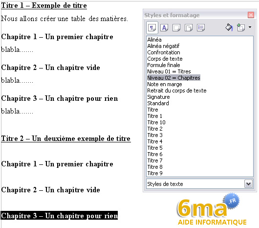 openoffice writer   creer une table des matieres