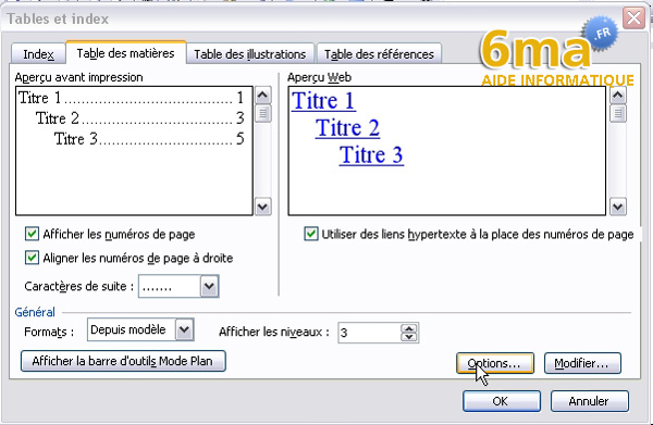 tuto word creer table des matieres image 9