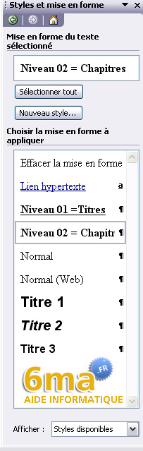 tuto word creer table des matieres image 6
