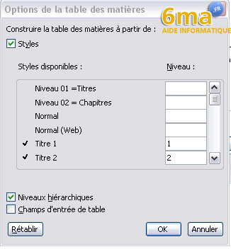 tuto word creer table des matieres image 10