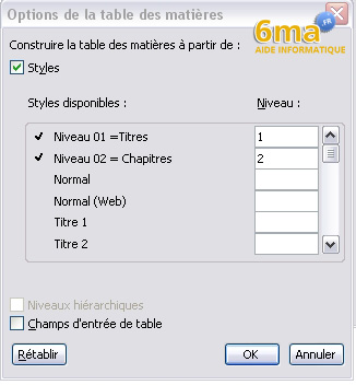 tuto word creer table des matieres image 11