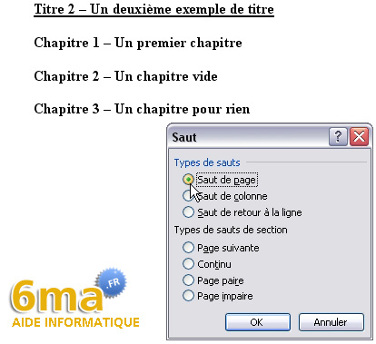 tuto word creer table des matieres image 7