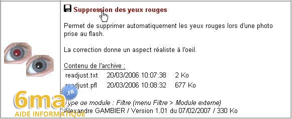 tutorial suppression yeux rouges avec PhotoFiltre image01