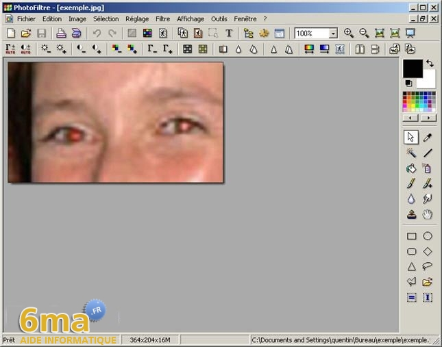 tutorial suppression yeux rouges avec PhotoFiltre image05
