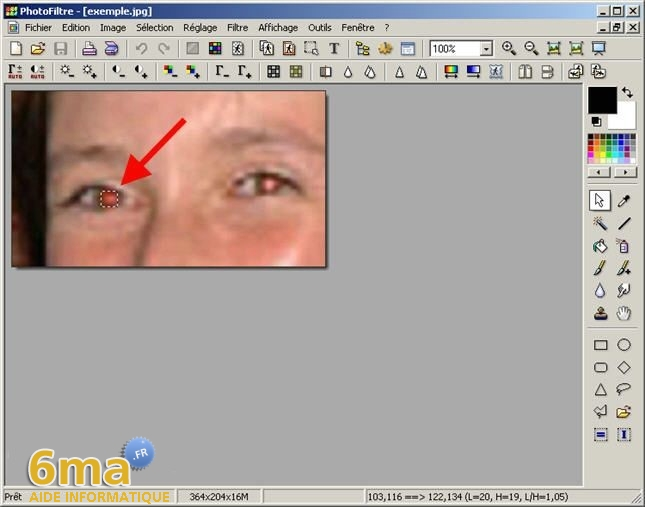 tutorial suppression yeux rouges avec PhotoFiltre image06