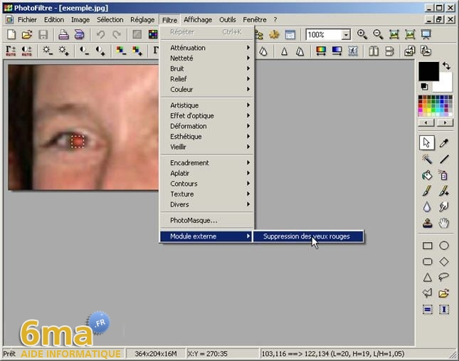tutorial suppression yeux rouges avec PhotoFiltre image07