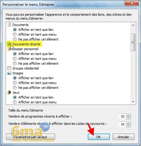 Retrouver le menu Documents récents sous Windows 7 image 1
