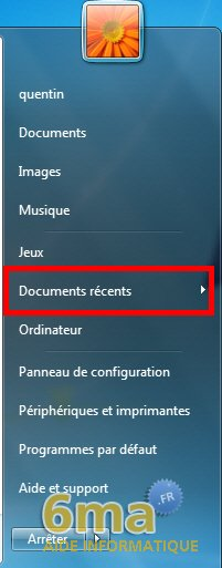 Retrouver le menu Documents récents sous Windows 7 image 2