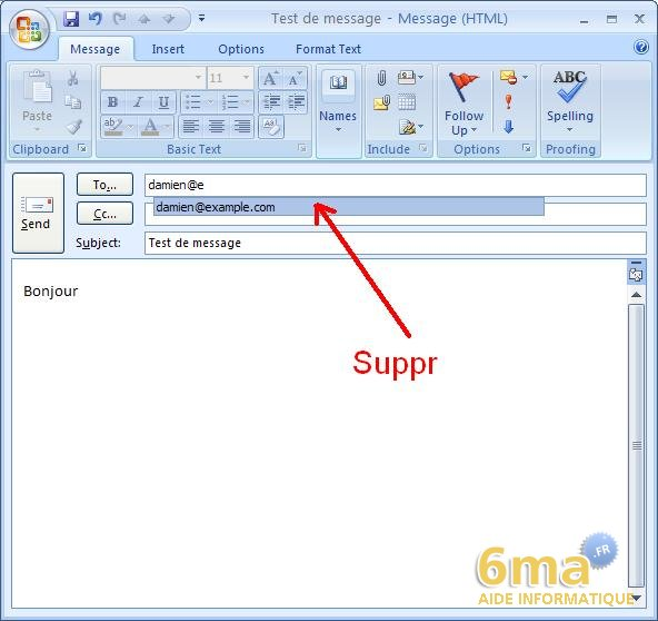 Outlook : supprimer un destinataire des suggestions image 0