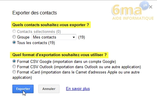 Comment exporter ses contacts Gmail ? image 2