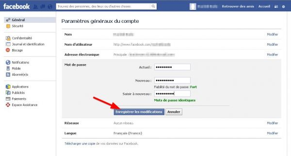 comment changer son mot de passe facebook