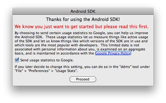 Installer le SDK Android sur Mac OSX image 10