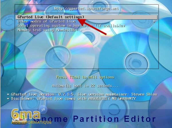 Gparted Live CD : Partitionner un disque dur (1/2) image 0