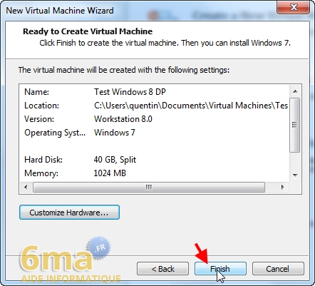 Installer Windows 8 Developer Preview sur Vmware Player (1/2) image 9