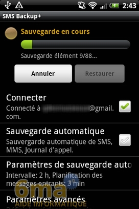 Sauvegarder automatiquement ses SMS d'Android vers Gmail avec SMS Backup + image 6