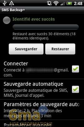 Sauvegarder automatiquement ses SMS d'Android vers Gmail avec SMS Backup + image 11