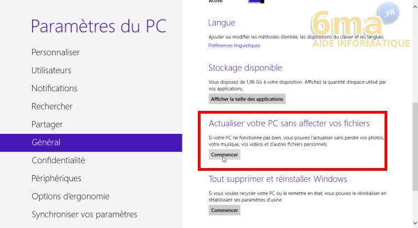 Windows 8 votre pc a rencontre un probleme