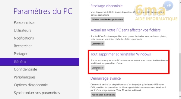 Comment actualiser et réinitialiser son PC sous Windows 8 ? image 14