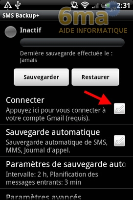 Sauvegarder automatiquement ses SMS d'Android vers Gmail avec SMS Backup + image 1