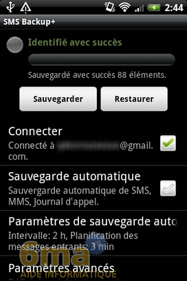 Sauvegarder automatiquement ses SMS d'Android vers Gmail avec SMS Backup + image 7