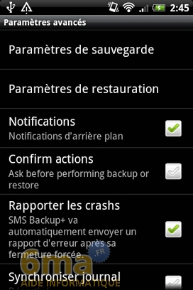 Sauvegarder automatiquement ses SMS d'Android vers Gmail avec SMS Backup + image 12