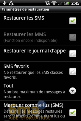 Sauvegarder automatiquement ses SMS d'Android vers Gmail avec SMS Backup + image 14